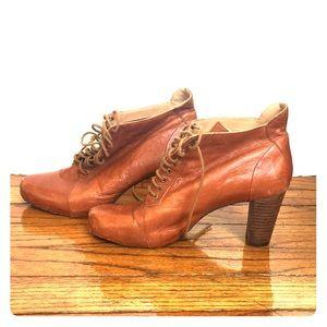 Tan Leather Nine West Wooden Heel Booties